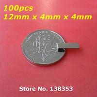 100pcs Bulk Super Strong Neodymium Rectangle Block Magnets 12mm x 4mm x 4mm N35 Rare Earth NdFeB Rectangular Cuboid Magnet