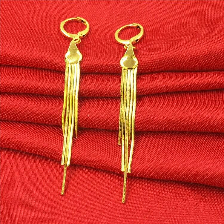 Long Tassel Dangle Earrings Yellow Gold Filled Boho Style Womens Earrings Simple Personality Accessories Gift