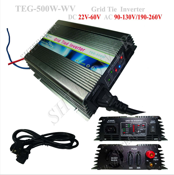 TEG-500W DC 22-60V to AC 220V 230V 240V On Grid Tie Micro Solar Inverter 500W With MPPT solar power on grid tie mini 300w inverter with mppt funciton dc 10 8 30v input to ac output no extra shipping fee