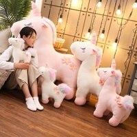 130 см Jumbo белый розовый плюшевая игрушка единорог гигантский набивной Единорог игрушка лошади, плюшевая кукла подарок детям реквизит для фо