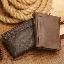 e649cc60b6f8e KAVIS العلامة التجارية جلد الرجال محافظ جلد طبيعي Walet الرجال حامل بطاقة  مصغرة مع سستة محفظة