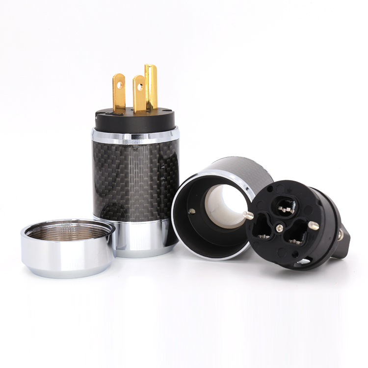 Pair High Quality Gold Plated US Power Cord Plug Carbon fiber US AC power plug male and female high quality gold plated us power plug connector us mains power ac cord plug iec female connector pair