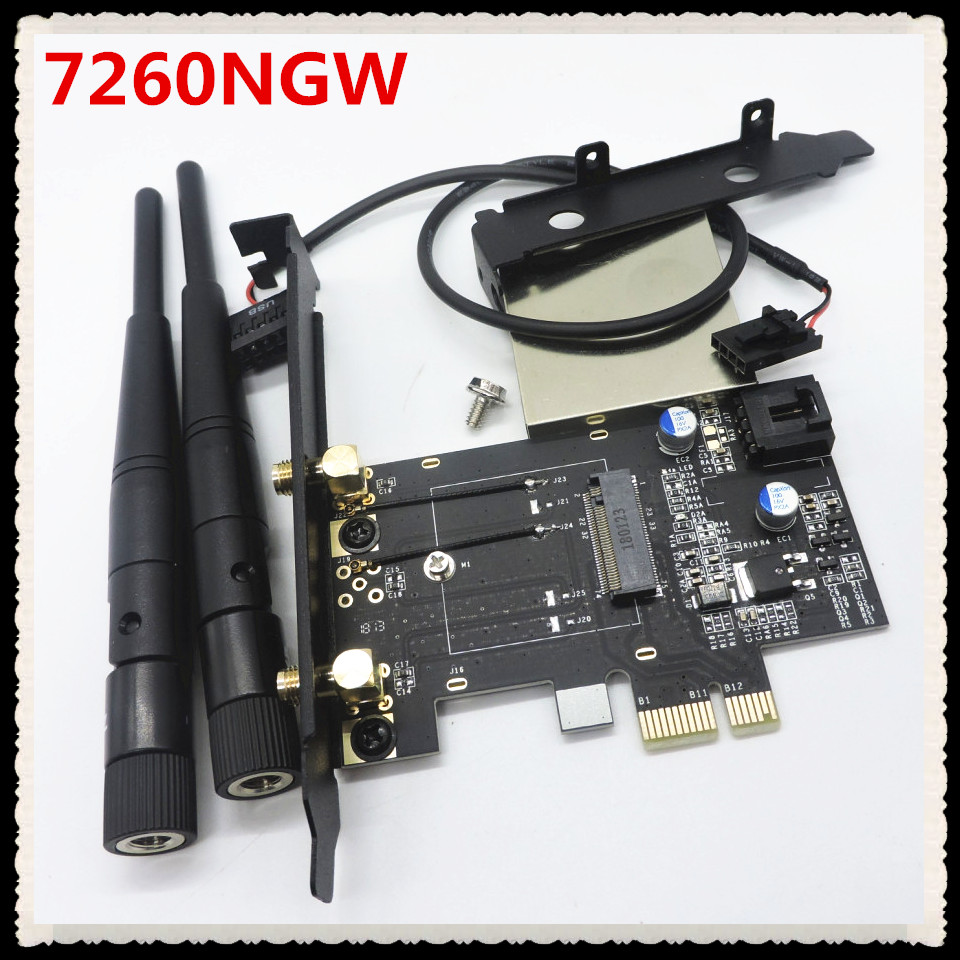 NGFF M.2 Key A To PCIe 1x WiFi card Adapter M2 to PCI-E For 7260NGW 7265NGW 8260NGW 8265NGW 3160NGW <font><b>3165NGW</b></font> 3168NGW image