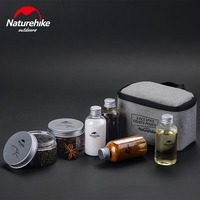 Naturehike 6 Pcs Spice Cruets Pouch Outdoor Travel Camping Picnic BBQ Seasoning Jar Case Condiment Bottles
