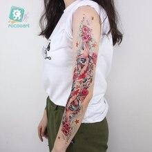 Full Arm sleeve Tattoo Sticker Extra Large Temporary Tattoos Fish Lotus Pool by Moonlight Body Art Women