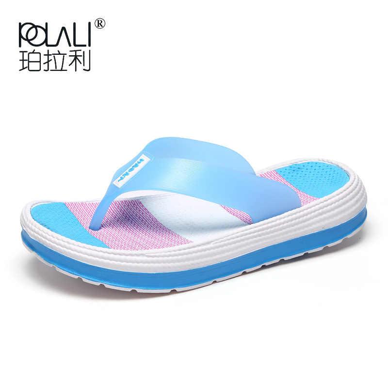 POLALI 2020 zapatillas de verano para mujer, chanclas duraderas de masaje informal, sandalias de playa, zapatos de cuña para mujer, zapatillas de habitación de señora a rayas
