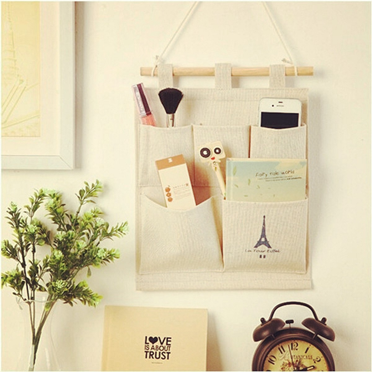 5 Pockets Cotton Jute Hanging Storage Bag Living Room Door Wall Organizer  Home Office Sundries Holder