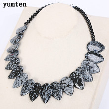 Yumten Alabaster Women Natural Stone Leaf Necklace Men Choker Flower Charms Jewelry Kette Naturstein Erkek Kolye Sautoir Colares