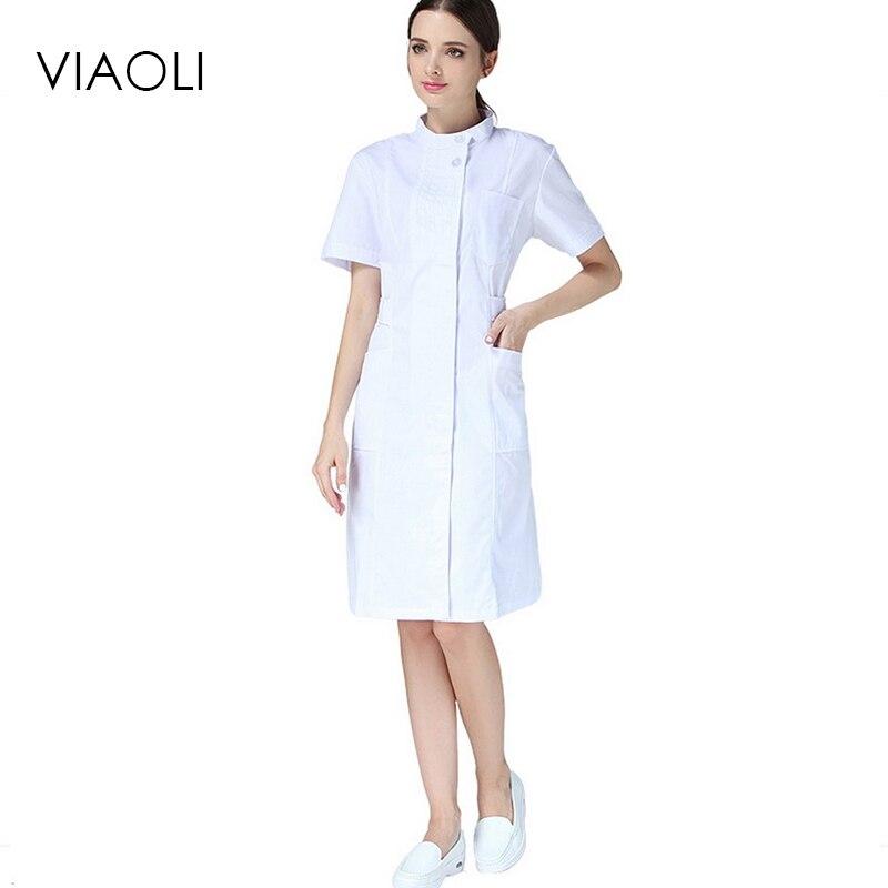 Viaoli Medical Cloth Coat Clothing Scrubs Hospital Uniform Short Sleeve Nurse Uniforme Medicos Lab White Doctor Lapel Collar