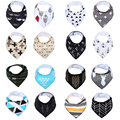 100% Cotton Baby Bandana Drool Bibs , Unisex 16-Pack Absorbent Organic Cotton Adjustable Snaps Saliva Towel, Cute Baby Gift