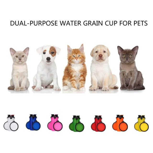 2 In 1 250ML Dogs Cats Feeding Feeder 350ML Dog Drinking Water Bottle Outdoor Travel Dual Purpose Food Storage Brings Two Bowls 4
