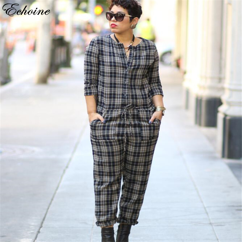 Echione Plus Size Rompers Womens Jumpsuit Blouses Plaid Black and White Sexy Bodycon Pla ...