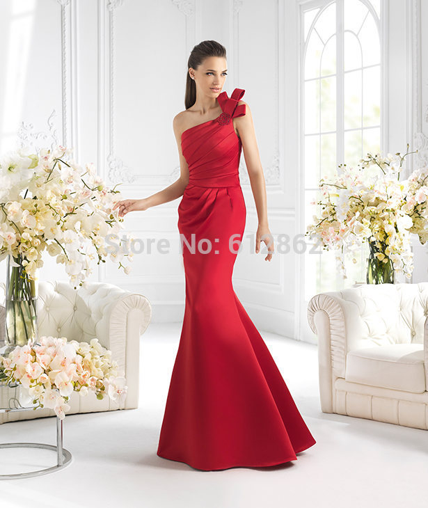 Popular Red One Shoulder Mermaid Prom Dress-Buy Cheap Red One ...