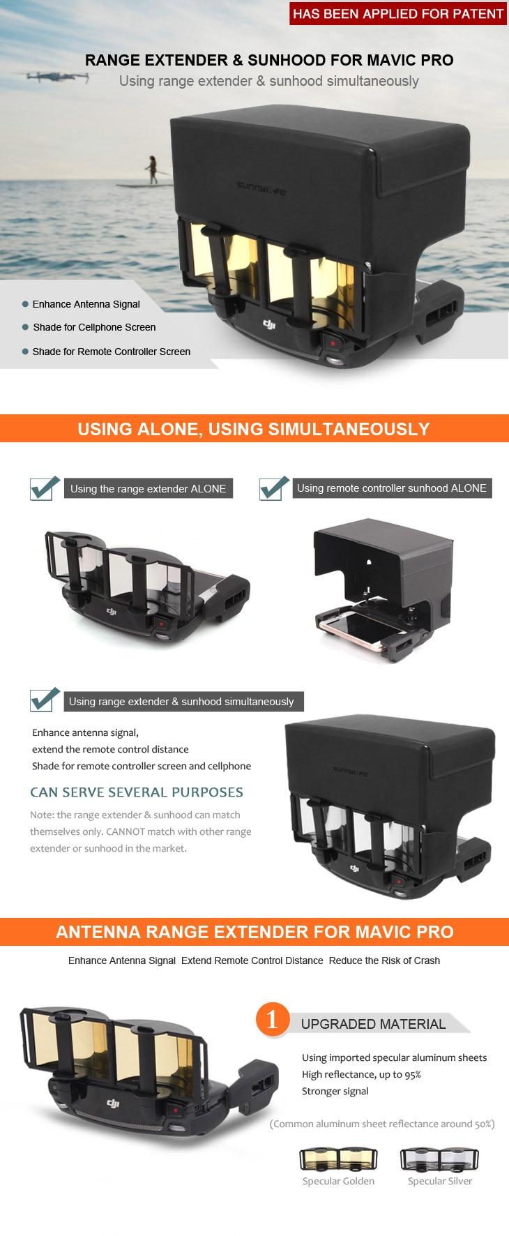 2 in 1 Antenna Range Extender& Remote Controller Sunhood Sunshade Enhance Signal for DJI MAVIC PRO/SPARK Drone Accessories