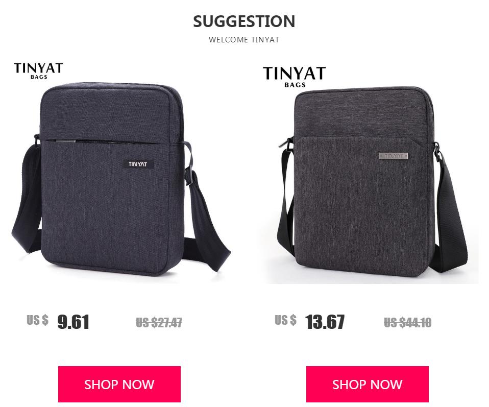 TINYAT Light Canvas Men's Shoulder Bag For 7.9' Ipad Casual Crossbody Bag Waterproof Business Shoulder bag for men 0.13kg 1