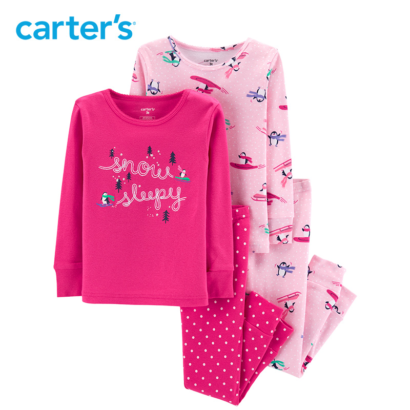 Carter's 4 Piece Penguin Snug Fit Cotton PJs Casual cotton long sleeve girls clothes toddler girls clothing set 24062021 carter s 4 piece bunny snug fit cotton pjs cute rabbit print long sleeve girls clothes set toddler girls clothing set 24062023
