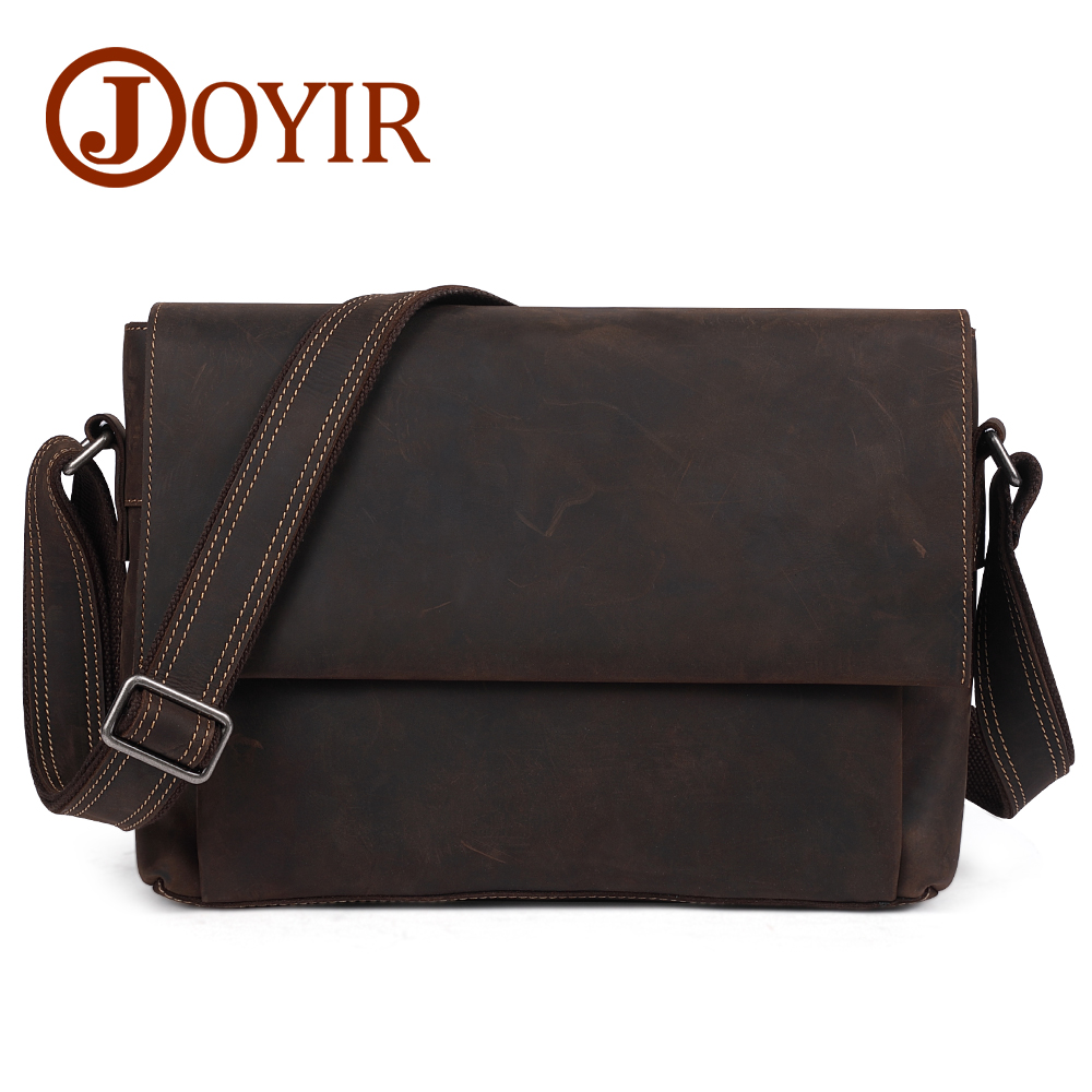 JOYIR Genuine Leather Casual Men bag 13 Laptop Briefcases Crossbody bag New Fashion Travel Shoulder Bag