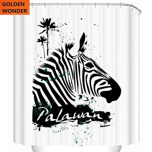 Fashion Shower Curtain Zebra Waterproof 3d Bathroom Curtains Polyster High Quality Digital Printing Environmental