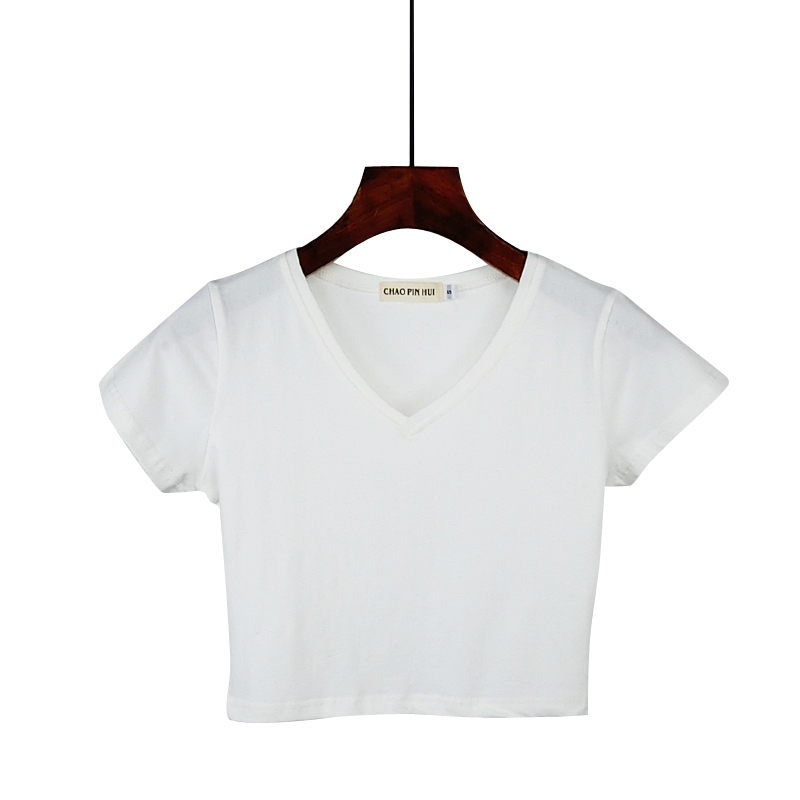 Crop Top Women 2019 Summer Cotton Loose Casual Blusas White T Shirt Sexy Thin Female V-neck Short Sleeve Tee Shirts 7 Colors