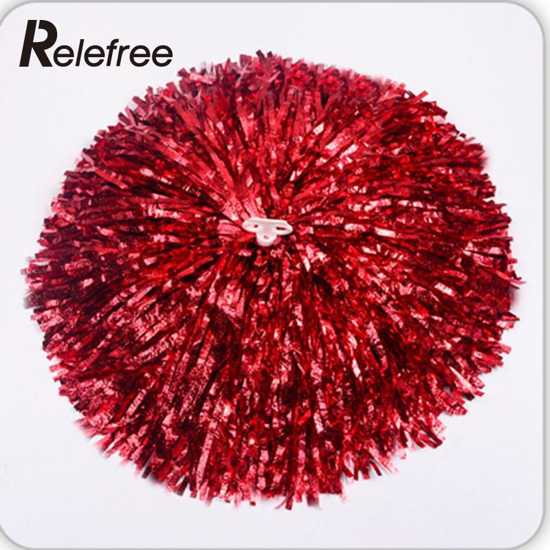 Relefree 1 Pair Game Pompoms Practical Cheerleading Cheering Pom Poms Apply To Sports Match And Vocal Concert Party Club Decor