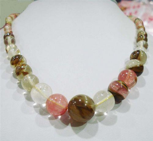 hot sell- N1593 6-14mm <font><b>Watermelon</b></font> <font><b>Tourmaline</b></font> Gems Beads Necklace 18 inches -Top quality free shipping image