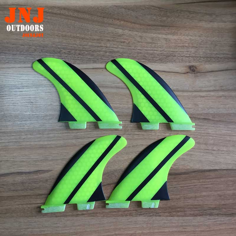 FREE SHIPPING yellow fiberglass honeycomb FCS II G5 M quad fin 4pcs FCS quad fins for surfboard mulinsen latest lifestyle 2017 autumn winter men