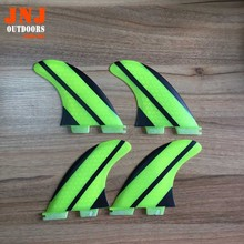 FREE SHIPPING yellow fiberglass honeycomb FCS II G5 M quad fin 4pcs FCS quad fins for surfboard