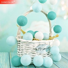 Holiday lights Led Light String Tiffany Color 5CM Ball 120CM 10Leds White Fairy Garland Christmas Wedding Room Decoration HL