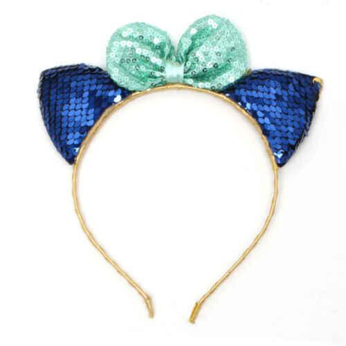 แมวหู Headband เงาเลื่อมผม Hoop Hairband น่ารักสำหรับสาวผู้หญิงแมวหูผมคลิป Headwear 5 สี