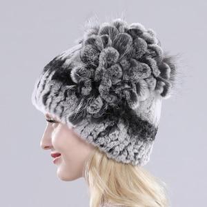 Image 3 - Female Real Genuine Rex Rabbit Fur Cap Russian Winter Knitted Real Rex Rabbit Fur Hat Women Real Rabbit Fox Fur Skullies Beanies
