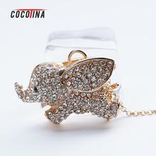 Cute Elephant Pendant Necklace Women's Clavicle Chain Fashion Full Rhinestones Elephant Necklace Gold/Silver COCOTINA D02666(China)