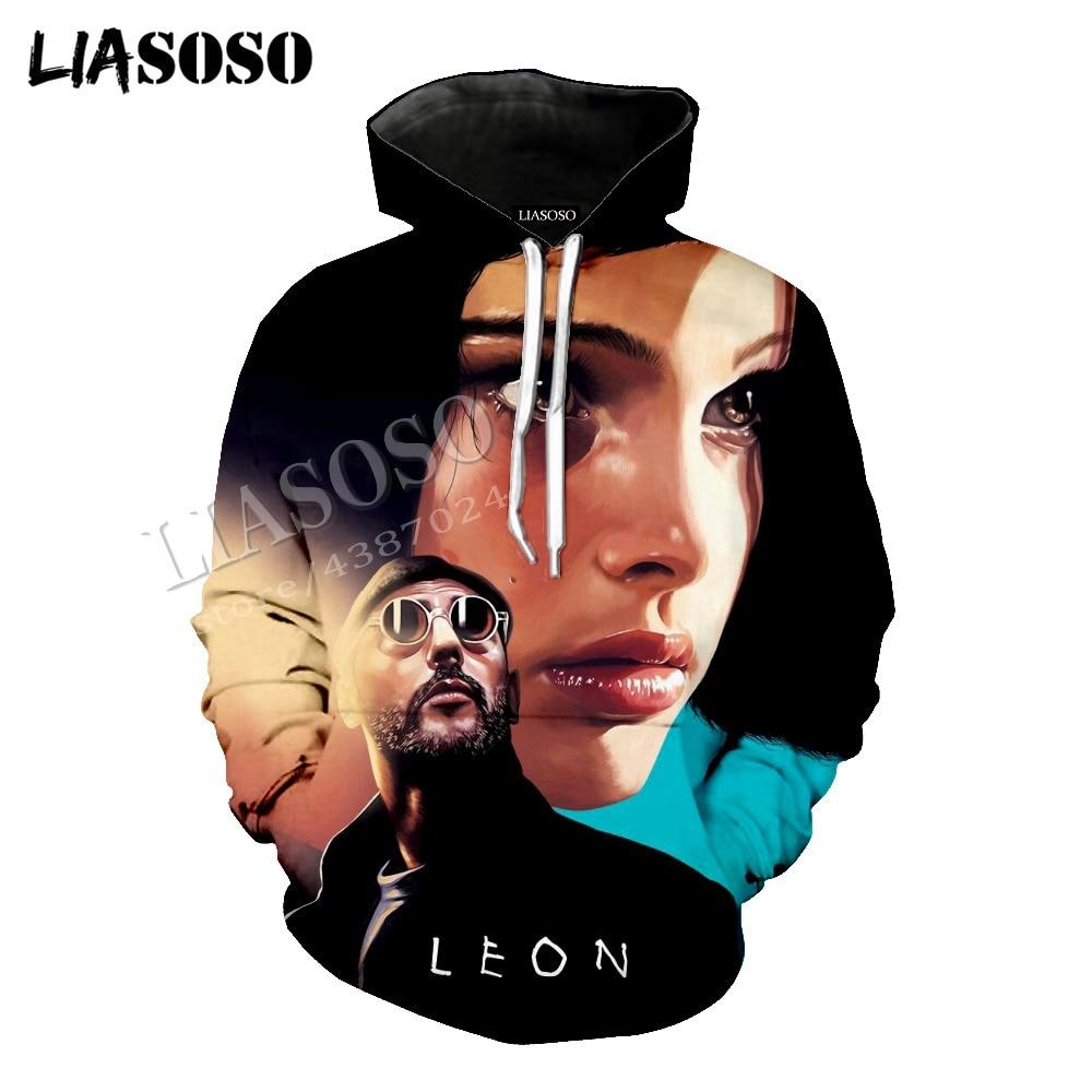 LIASOSO latest 3D print cozy polyester sportswear set action movie The Professional Leon killer men women T Shirt hoodie CX811