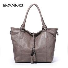 Western Style 100% Genuine Leather Women Handbag Elegant Large Capacity Tote Ms Bolsos Black Ladies Cowhide Tassel Messenger Bag