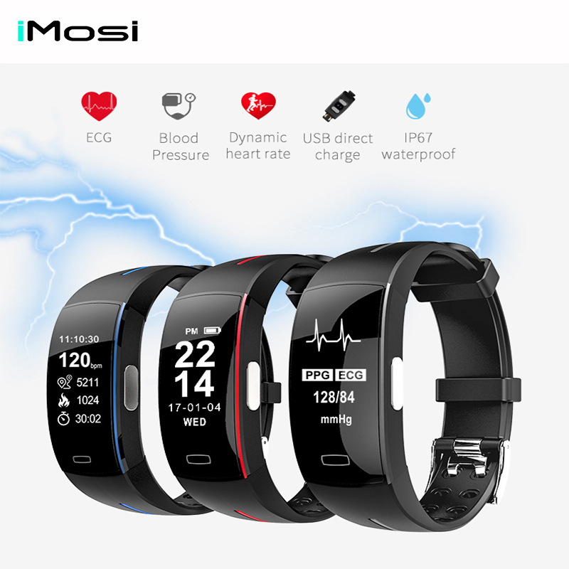 Imosi P3 Smart Band Support ECG+PPG Blood Pressure Heart rate Monitoring IP67 waterpoof Pedometer Sports Fitness Bracelet a09 ble4 0 heart rate blood pressure monitoring smart bracelet blue