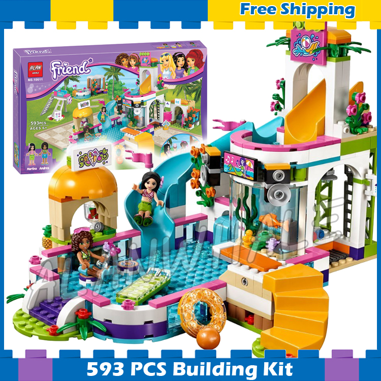 Us 2721 593pcs Friends Heartlake Summer Pool Andrea Martina 10611 Model Building Blocks Children Kids Toys Bricks Compatible With Lego In Blocks