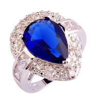 Exalted Fashion Rings Luxurious Sapphire Quartz 925 Silver Ring Water-Drop Size 6 7 8 9 10 Wholesale Free Shipping Jewelry
