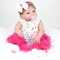 1 Set 22 Inch Doll Reborn Full Body Silicone Reorn Dolls Toys For Girls Lifelike Newborn Children Fashion Dolls Toy