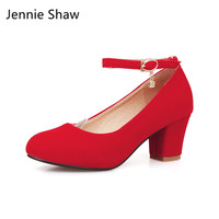 Female Red Wedding Shoes Red Bride Shoe Thick Heel Pumps Sys 886