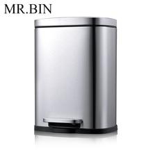 MR. BIN 5L Нержавеющая Сталь Шаг Мусорный бак со съемным внутренним баком современный простой анти-отпечатков пальцев педаль мусорное ведро для дома