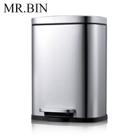 MR.BIN 5L Stainless Steel Step Trash Can with Removable Inner Tank Modern Simple Anti fingerprint Foot Pedal Waste Bin for Home
