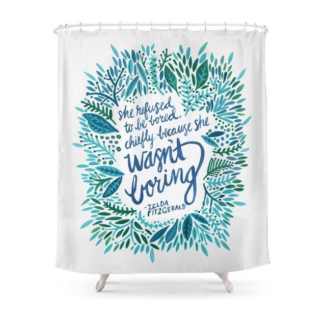 Zelda Fitzgerald Blue On White Shower Curtain