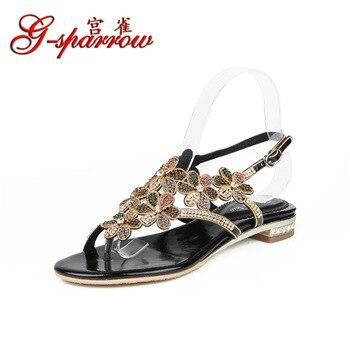 G-sparrow 2019 Women's New Diamond Peep Toe Casual Large Size Shoes Flip Flops Sandals High Quality Black