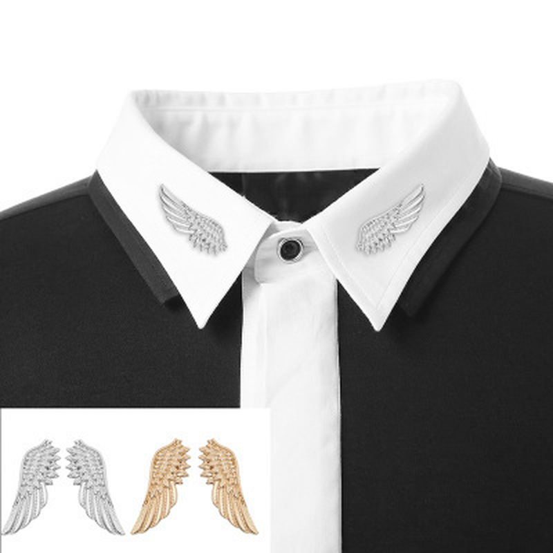 Tie Clip Wing Design Brooches 2019 Fashion 925 Jewelry Personality Cufflinks Clip Women's Shirts Buttoned Pin Male Accessories