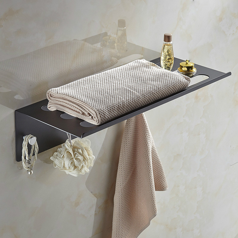 Space aluminum towel rack free punching Bathroom black towel rack towel bar Bathroom shelf wholesale lo8281001 корзинки migura корзина для хранения