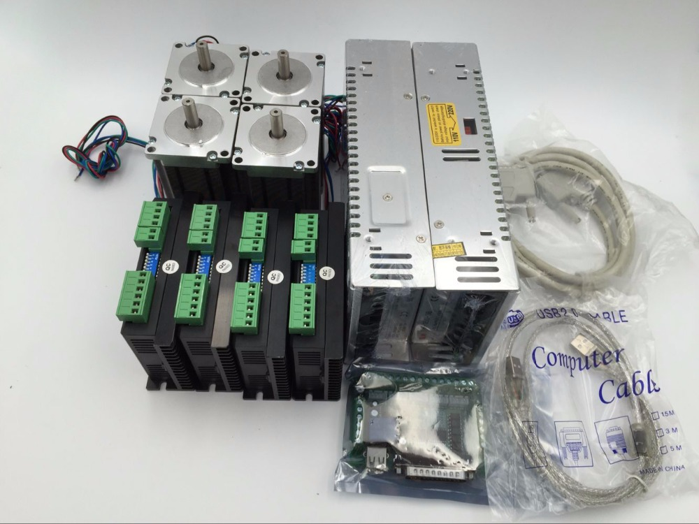 Stepper Motor 4Axis Kit NEMA 23 1.8Nm Stepper Motor +DC24~50V Driver+5Axis Breakout Board & DB25 Cable CNC 4axis nema 34 1230oz in 5 0a stepper motor