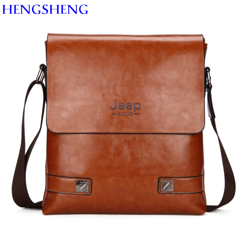 11bc9d0ba7e HENGSHENG JEEP men leather shoulder bag with cover solid men messenger bag  for fashion business male shoulder bag men bags
