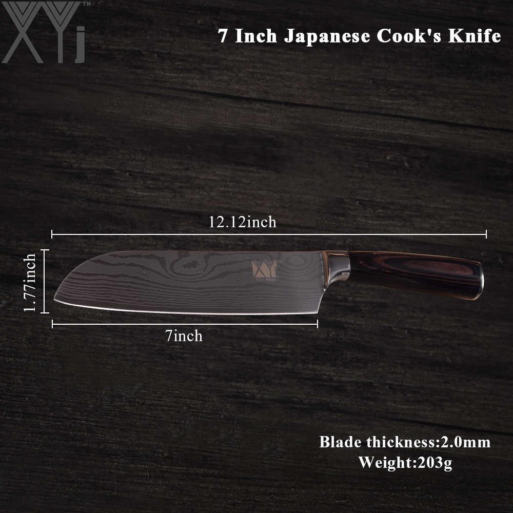 "XYj דמשק דפוס נירוסטה מטבח סכין 8 ""שף חיתוך 7"" Santoku 5 ""Santoku שירות 3.5"" קילוף סכין בישול סכין של"