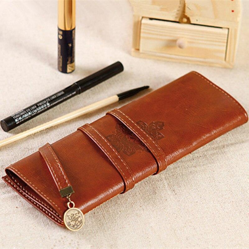Estojo de lápis de couro pu para cosméticos, estojo vintage de papelaria com caneta de maquiagem, vintage, bolsa para escova FB-bd2, venda imperdível