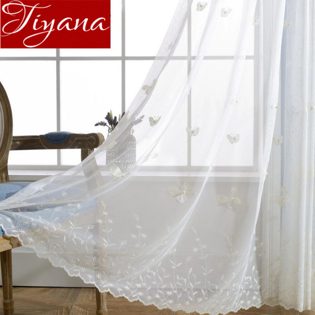 White Curtains Butterfly Pearls Embroidered Voile Curtains Window Modern Living  Room Net Curtains Tulle Sheer Rideaux Tu0026224 #30
