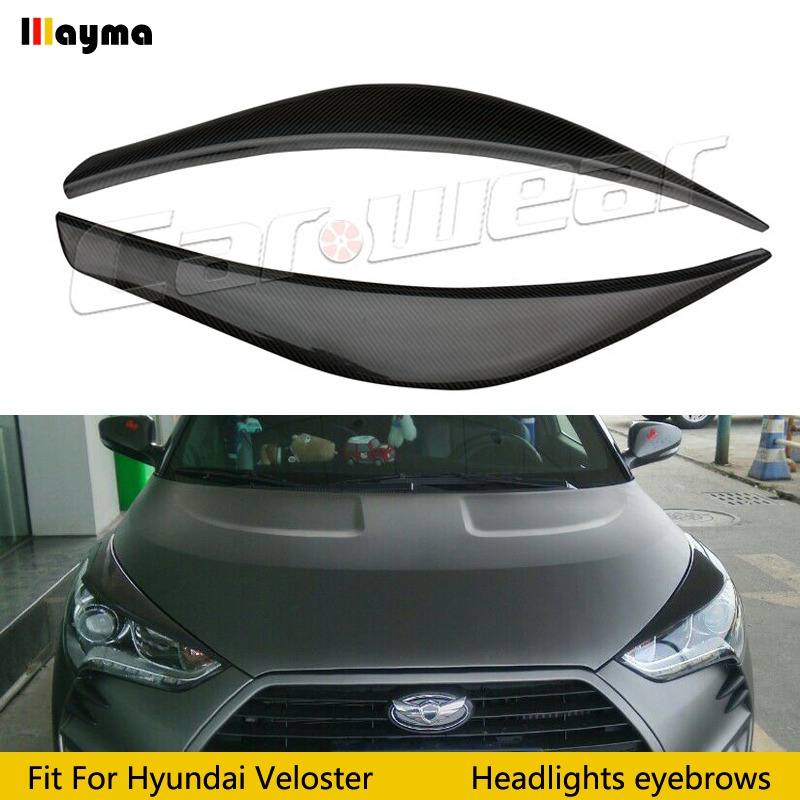LP Style For Hyundai Veloster 1 6L 1 6T Carbon Fiber Wide Body Headlight Eyebrow CF